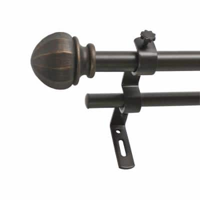 48 in. - 86 in. Double Curtain Rod in Vintage Bronze with Finial