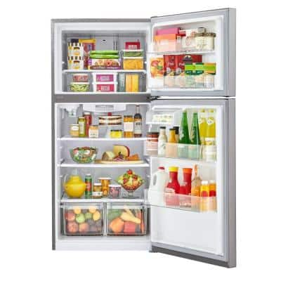 24 cu. ft. Top Freezer Refrigerator with Internal Water Dispenser, Icemaker Ready in Stainless Steel
