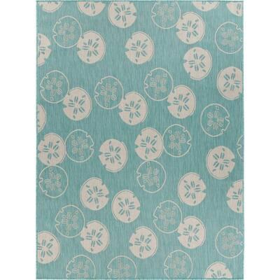 Sanibel Teal/Cream 7 ft. 10 in. x 9 ft. 10 in. Floral Polypropylene Indoor/Outdoor Area Rug
