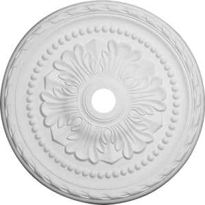 31-1/2'' x 3-5/8'' ID x 1-3/4'' Palmetto Urethane Ceiling Medallion (Fits Canopies up to 7-5/8''), Primed White