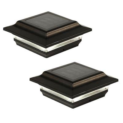 Imperial 4 in. x 4 in. Outdoor Black Cast Aluminum LED Solar Post Cap (2-Pack)