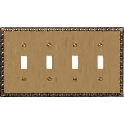Antiquity 4 Gang Toggle Metal Wall Plate - Brushed Brass