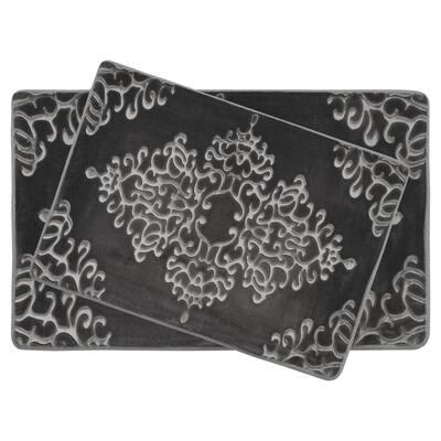 Damask Embossed Dark Gray 20 in. x 32 in. Microfiber Memory Foam 2-Piece Bath Mat Set