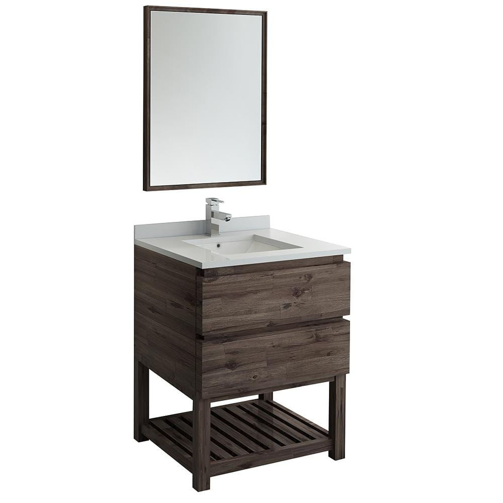 Fresca Formosa 30 In Modern Vanity With Open Bottom In Warm Gray With Quartz Stone Vanity Top In White With White Basin Mirror Fvn3130aca Fs The Home Depot