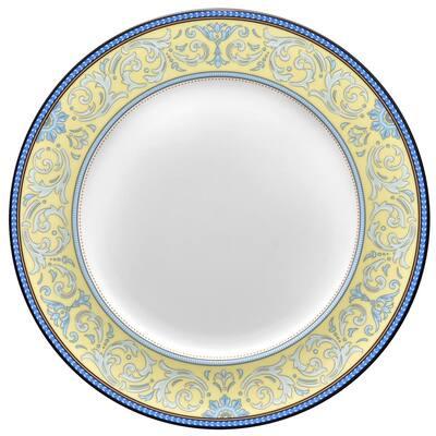 Menorca Palace Blue/Yellow White Bone China Dinner Plate 10-3/4 in.