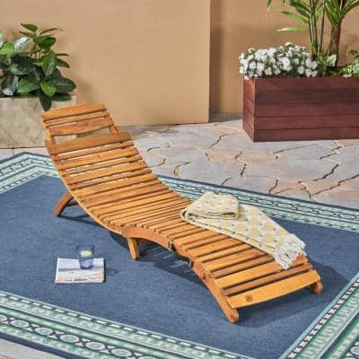 Lahaina Natural Yellow 1-Piece Wood Outdoor Chaise Lounge