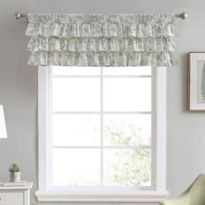 Natalie 50 in. L x 18 in. W Floral Cotton Valance in Green