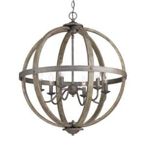 Keowee Collection 24.13 in. 6-Light Artisan Iron Orb Chandelier with Elm Wood Accents