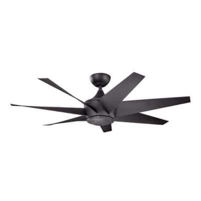 Lehr II 54 in. Indoor/Outdoor Distressed Black Downrod Mount Ceiling Fan with Wall Control