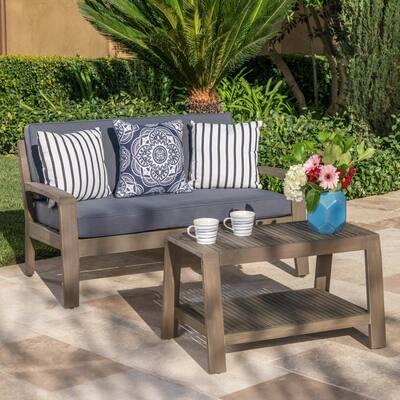 Grenada Gray 2-Piece Wood Patio Conversation Set with Dark Gray Cushions