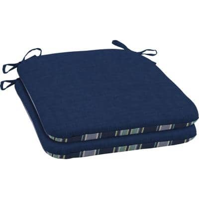 19 x 18 Sapphire Leala Texture Reversible Outdoor Seat Cushion (2-Pack)