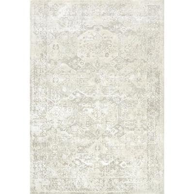 Quartz Ivory 7 ft. 10 in. x 10 ft. 10 in. Transitional Polyester Area Rug