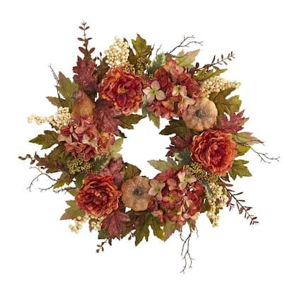 24 in. Fall Peony, Hydrangea and Pumpkin Artificial Wreath