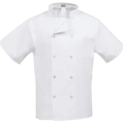 C10PS Unisex MD Short Sleeve Classic Chef Coat White