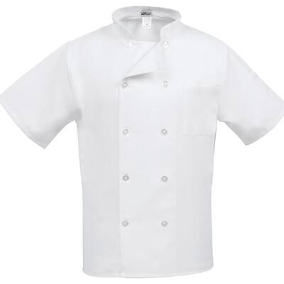 C10PS Unisex LG White Short Sleeve Classic Chef Coat