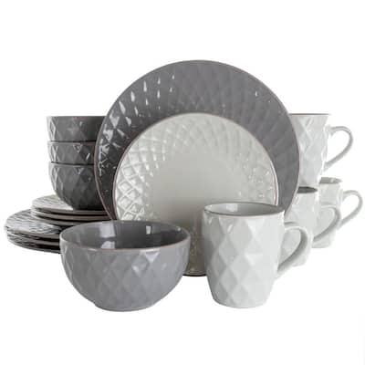 16-Piece Tahitian Diamond Slate and Pearl Stoneware Dinnerware Set (Service for 4)