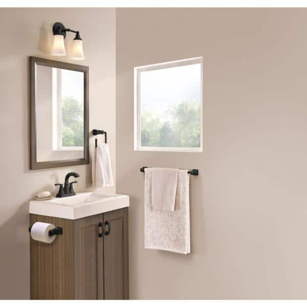 Moen Hensley Press And Mark 3 Piece Bath Hardware Set With 24 In Towel Bar Paper Holder And Towel Ring In Matte Black My3593bl The Home Depot