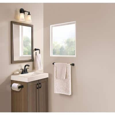 Hensley Press and Mark 3-Piece Bath Hardware Set with 24 in. Towel Bar, Paper Holder and Towel Ring in Matte Black