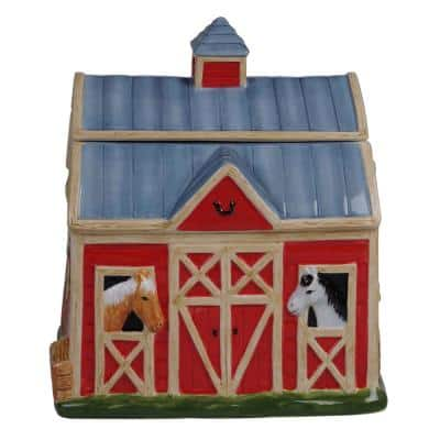 128 oz. Multi-Colored Clover Farm 3-D Barn Cookie Jar