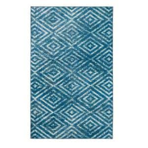 Distressed Diamond Teal 8 ft. x 10 ft. Indoor Area Rug