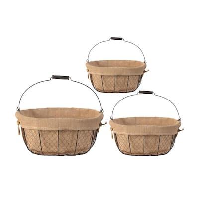 Joyce Oval Fabric Cloth Baskets Beige (Set of 3)