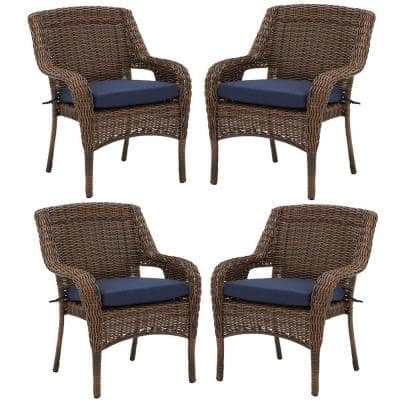 Cambridge Brown Resin Wicker Outdoor Dining Chairs with CushionGuard Midnight Navy Blue Cushions (4-Pack)