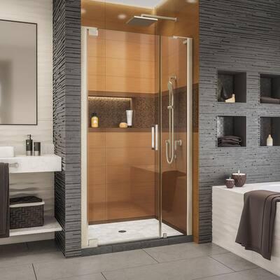 Elegance-LS 38-3/4 in. to 40-3/4 in. W x 72 in. H Frameless Pivot Shower Door in Brushed Nickel
