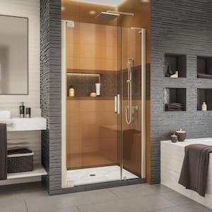 Elegance-LS 42-1/4 in. to 44-1/4 in. W x 72 in. H Frameless Pivot Shower Door in Brushed Nickel
