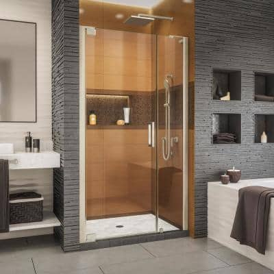 Elegance-LS 44 in. to 46 in. W x 72 in. H Frameless Pivot Shower Door in Brushed Nickel