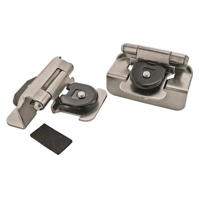 Satin Nickel 1/2 in. Overlay Double Demountable Cabinet Hinge (2-Pack)