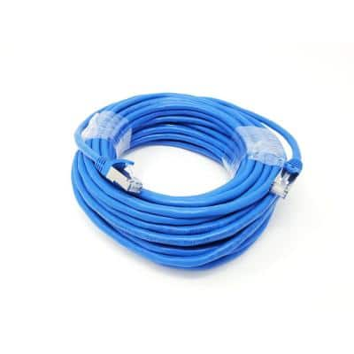 50 ft. CAT 7 SFTP 26AWG Double Shielded RJ45 Snagless Ethernet Cable Blue