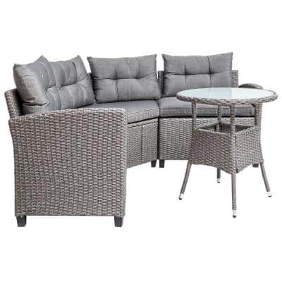 Brown 4-Piece Wicker Outdoor Sectional Set with Gray Cushions
