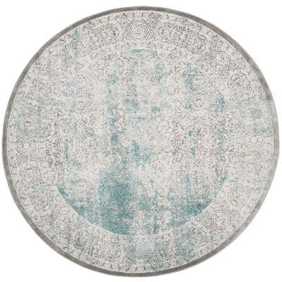 Passion Turquoise/Ivory 5 ft. x 5 ft. Round Border Area Rug