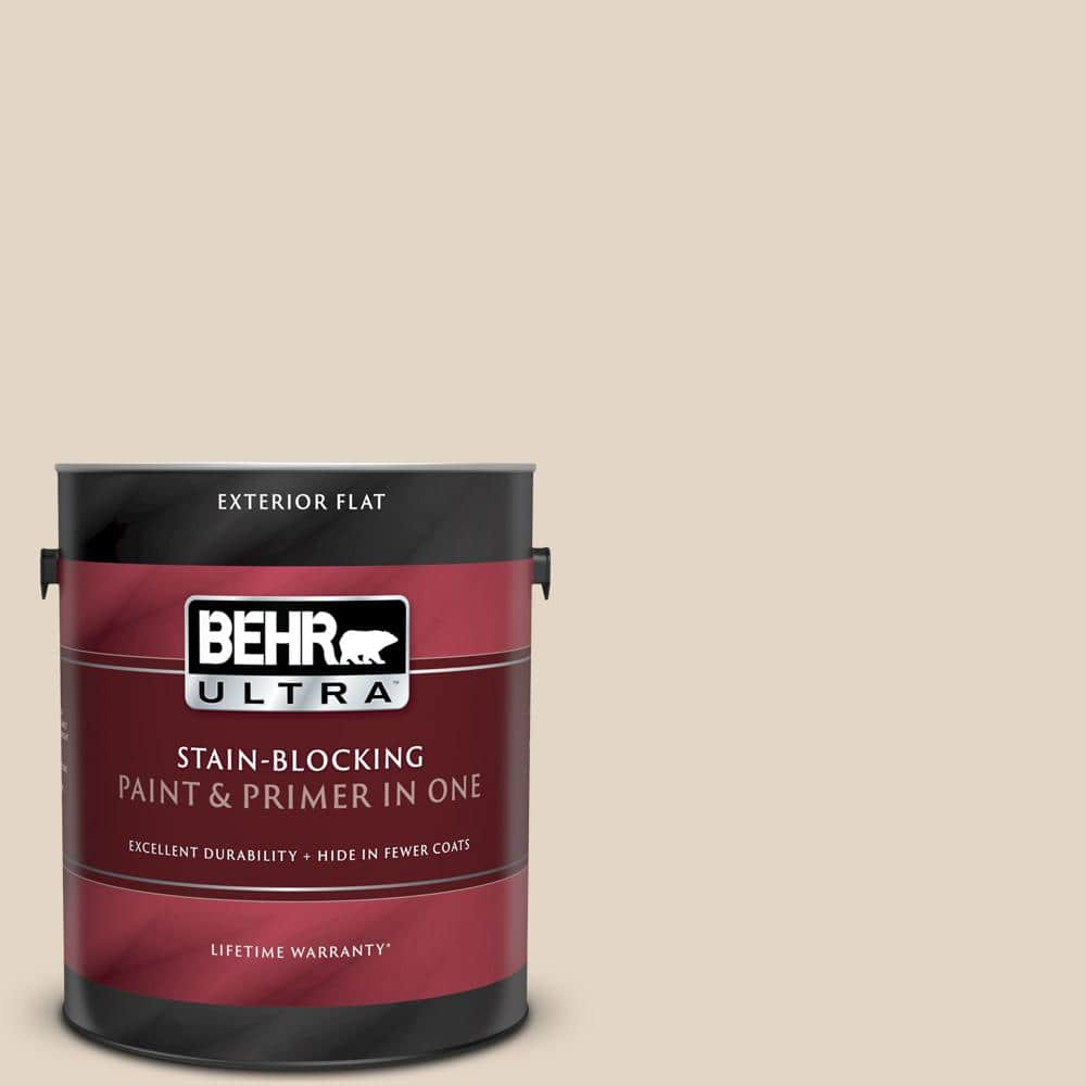 Behr Ultra 1 Gal N270 1 High Style Beige Flat Exterior Paint And Primer In One 485001 The Home Depot