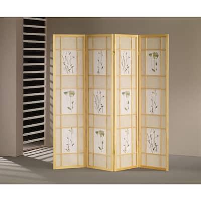 Natural 4-Panel Shoji Screen Room Divider