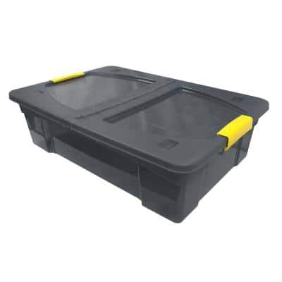7.4 Gal. Storage Box Translucent in Grey Bin with Yellow Handles with cover