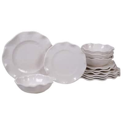Perlette 12-Piece Solid Cream Melamine Outdoor Dinnerware Set (Service for 4)