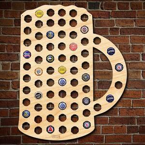 16 in. x 20 in. Wooden Beer Mug Beer Cap Map