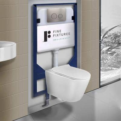 Dakota Wall-Hung 2-piece 1.6 GPF Dual Flush Round Toilet in White with Tank and Dual Flush Plate Seat Included