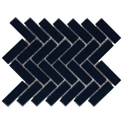 Restore Navy Herringbone 9 in. x 12 in. x 6 mm Glazed Ceramic Mosaic Tile (0.60 sq. ft./Each)