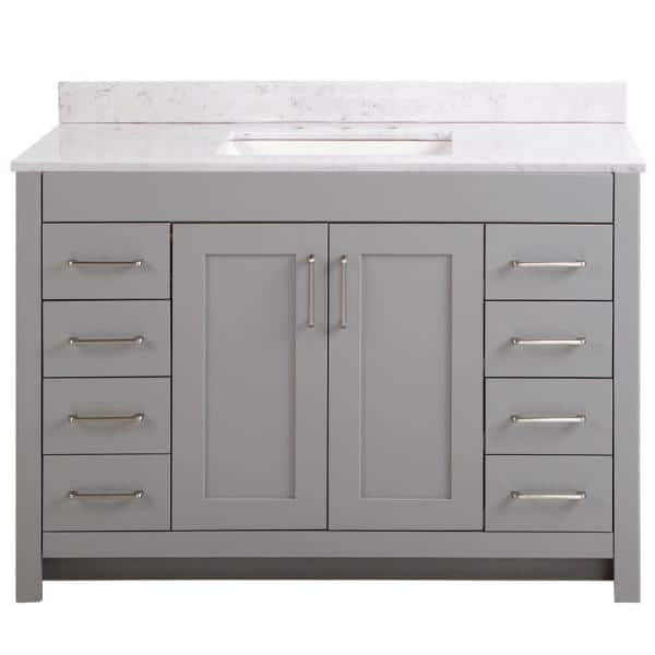 Home Decorators Collection Westcourt 49 In W X 22 In D Bath Vanity In Sterling Gray With Stone Effect Vanity Top In Pulsar With White Sink Wt48p2v3 St The Home Depot
