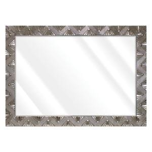 Large Rectangle Distressed Silver Beveled Glass Art Deco Mirror (42 in. H x 30 in. W)