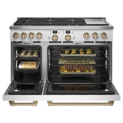 48 in. 8.25 cu. ft. Smart Double Oven Dual Fuel Range with Self-Cleaning Convection Oven in Matte White