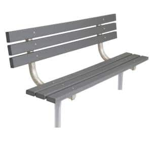 6 ft. Gray Commercial Park In-Ground Recycled Plastic Bench with Back