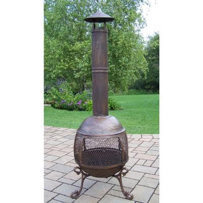 65 in. Autumn Chimenea Firepit, 360 Degree Fire View, Smoke Draft Pipe, Log Grate and Spark Protective Screens and Door