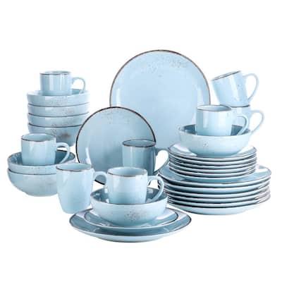 Navia Oceano Light Blue 32-Piece Ceramic Dinnerware Set w/ Dinner Plate, Dessert Plate, Cereal Bowl, Mug (Service for 8)