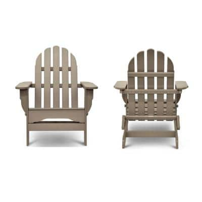 Icon Weathered Wood Recycled Plastic Folding Adirondack Chair (2-Pack)