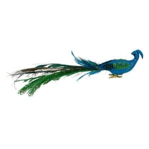 15.25 in. Blue and Green Glittered Peacock Clip On Christmas Ornament