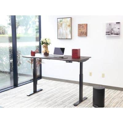 60 in. Rectangular Walnut/Black Standing Desk with Adjustable Height Feature