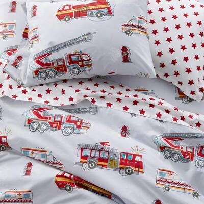 Firetrucks Multicolored Graphic 200-Thread Count Organic Cotton Percale Standard Pillowcase (Set of 2)